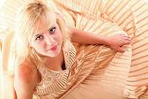 Woman blonde fashion model in yellow dress — Stock Photo