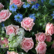 Blue and pink flower arrangement — Stock Photo