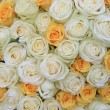 Stock Photo: White and yellow roses in bridal flower arrangement