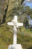 Cross grave headstone — Stock Photo