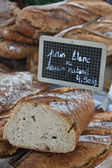 French bread at a market — Stockfoto
