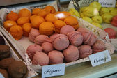 Macarons in a French shop — Stok fotoğraf