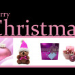Christmas Collage Card in pink — Stock Photo