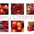 Black, white red Christmas collage card — Stock Photo