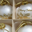 Stock Photo: White ornaments Christmas greeting
