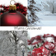 Black, White and red christmas collage card — Stock Photo