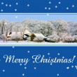 Stock Photo: Farm in snow Christmas greeting