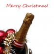 Champagne and ornaments christmas greeting — Foto Stock