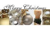 Gümüş altın kolaj Noel kartı — Stok fotoğraf