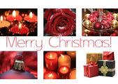 Noir, blanc carte rouge collage de Noël — Photo