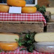 Cheese at a French market — Stock Photo