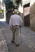 Old man on a French street — Stock Photo