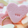 Diamond ring and candy hearts — Stock Photo #1714359