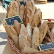 Fresh baguettes at a market — Stock Photo #17617561