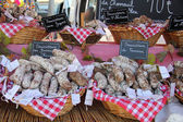 Sausages at a French market — Stock Photo
