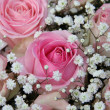 Pink roses in bridal arrangement — Photo