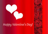 Red Roses and Hearts Valentine — Stock Photo