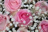 Pink roses in bridal arrangement — Stock Photo