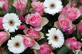 Pink roses, white gerberas in bridal arrangement — Stock Photo