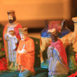 Vintage nativity scene figurines, three kings and camel - Stockfoto