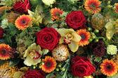 玫瑰和兰花在插花中 — 图库照片