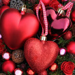 Red Christmas ornaments - Stockfoto