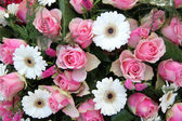 Pink roses, white gerberas in bridal arrangement — Stock Photo