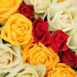 Yellow, white and red roses in a wedding arrangement — Lizenzfreies Foto