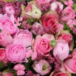 Mixed pink flower arrangement — Stock Photo