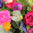 Wildflower arrangement in bright colors — Stok fotoğraf
