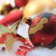 Christmas ornament and golden star — ストック写真