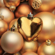 Christmas ornaments: 50 shades of gold - Stock Photo