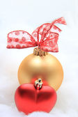Red and golden christmas decorations — Stock Photo