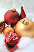 Christmas decorations in red and gold — Stock Photo