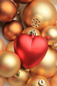 Red heart shaped christmas ornament — Stock Photo