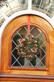 Stained glass window with a wreath — Stock Photo