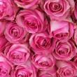 Stock Photo: Big pink roses in a wedding centerpiece