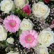 Pink gerberas and white roses in bridal arrangement — Lizenzfreies Foto