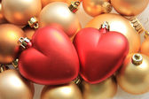 Red heart shaped christmas ornaments — Foto de Stock