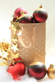 Giftbag with christmas ornaments — Stok fotoğraf