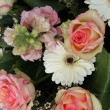 Pink roses and white gerberas in bridal arrangement - ストック写真