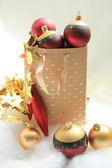 Giftbag with christmas ornaments — Stock Photo