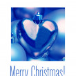 Blue heart ornament Christmas Card — Stock Photo