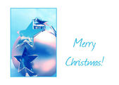 Blue stars and ornament Christmas Card — Stock Photo