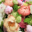 Peonies in a wedding arrangement — Stok fotoğraf