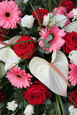 Anthurium, roses and gerberas in a bridal arrangement — 图库照片