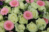 Pink gerberas and white roses - wedding flowers — Stock Photo