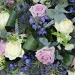 Wedding arrangement in purple and blue — Stok fotoğraf