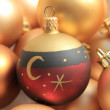 Red ornament on a pile of golden ornaments — Stockfoto
