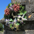 Stock Photo: Ceramic flowers funeral wreath